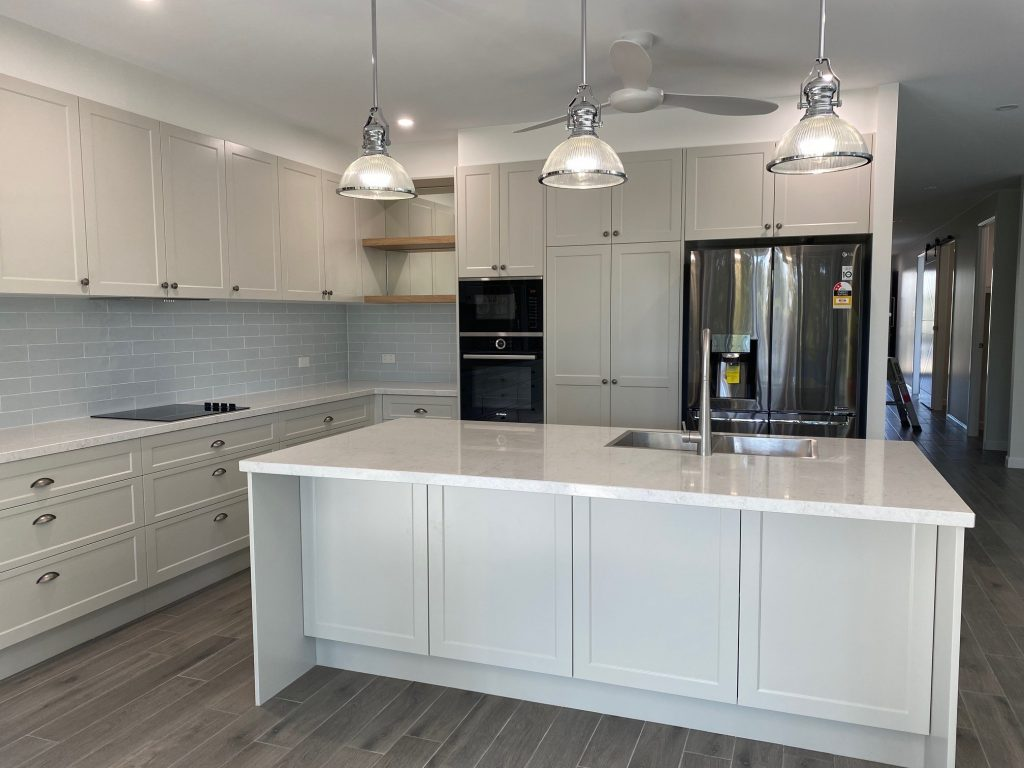 Hampton's kitchen, Kitchen renovation, Pendant lights, shaker cabinets